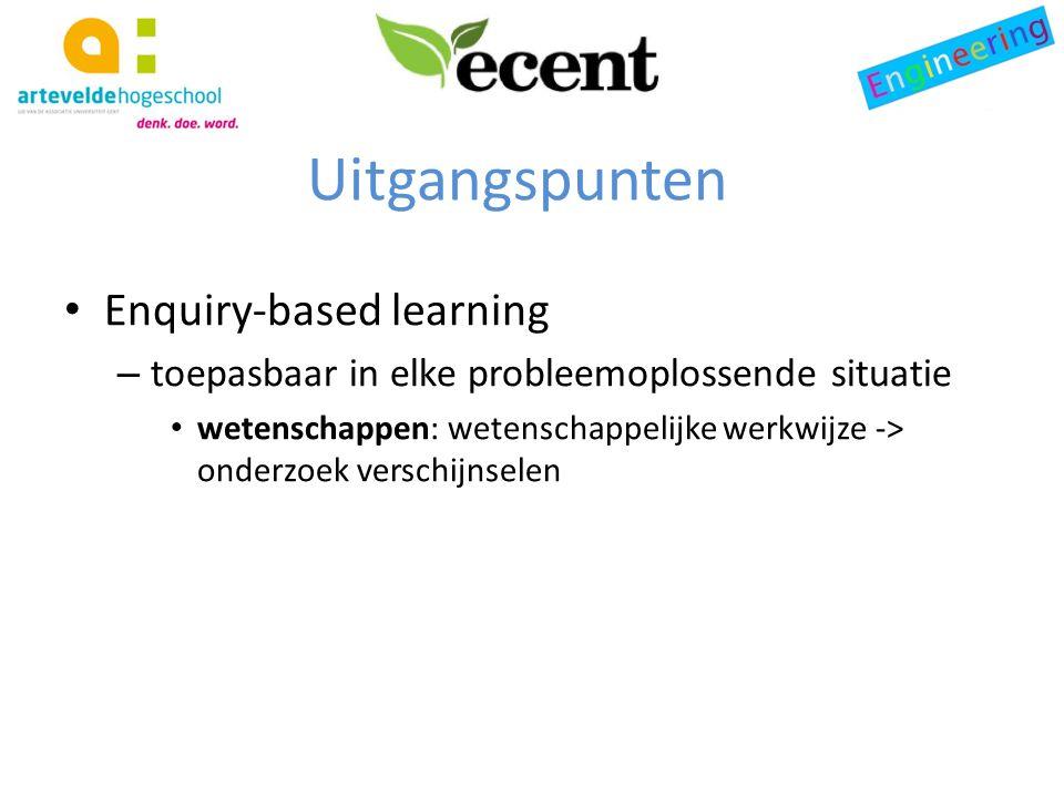 Uitgangspunten Enquiry-based learning – toepasbaar in elke probleemoplossende situatie wetenschappen: wetenschappelijke werkwijze -> onderzoek verschijnselen