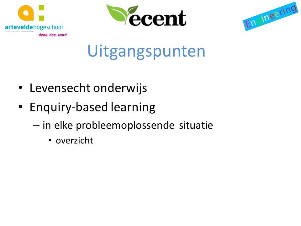 Uitgangspunten Levensecht onderwijs Enquiry-based learning – in elke probleemoplossende situatie overzicht
