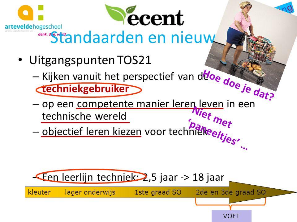 Standaarden en nieuwe ET Uitgangspunten TOS21 – Eigenheid van techniek techniek is niet een verlengde van (toegepaste) natuurwetenschappen (vaak wel interactie!)