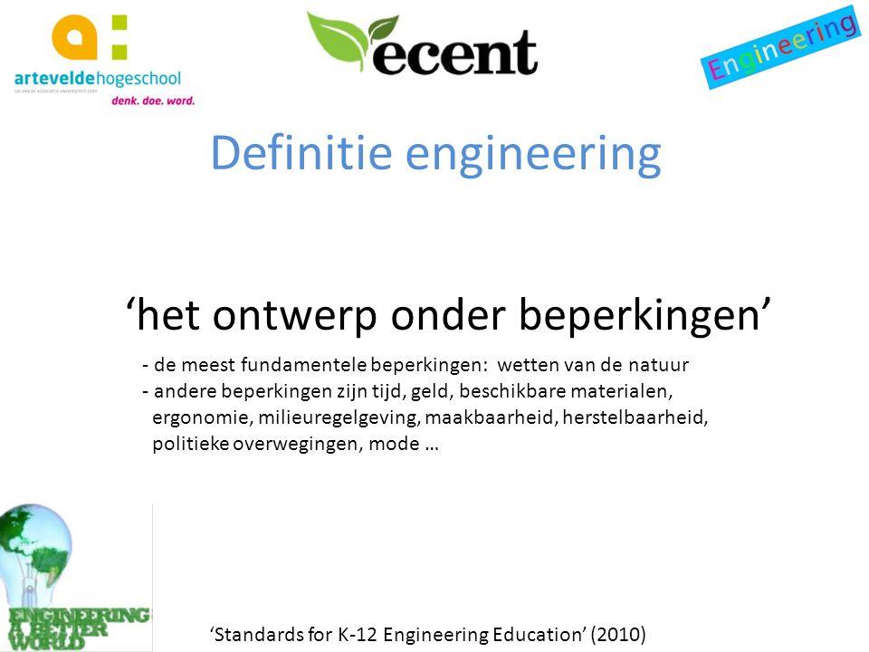 'het ontwerp onder beperkingen' 'Standards for K-12 Engineering Education' (2010) - de meest fundamentele beperkingen: wetten van de natuur - andere beperkingen zijn tijd, geld, beschikbare materialen, ergonomie, milieuregelgeving, maakbaarheid, herstelbaarheid, politieke overwegingen, mode …
