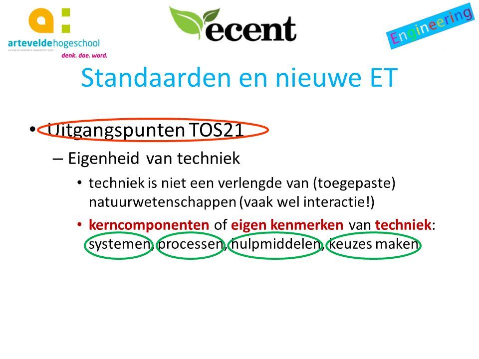 Standaarden en nieuwe ET Uitgangspunten TOS21 – Eigenheid van techniek techniek is niet een verlengde van (toegepaste) natuurwetenschappen (vaak wel interactie!) kerncomponenten of eigen kenmerken van techniek: systemen, processen, hulpmiddelen, keuzes maken