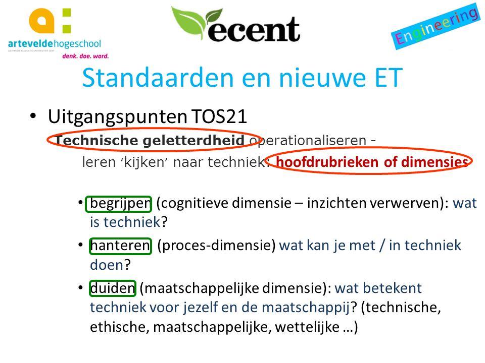 Standaarden en nieuwe ET Uitgangspunten TOS21 Standaarden voor technische geletterdheid Binnen de matrix van dimensies en kerncomponenten ontwikkelt TOS21 in totaal 19 standaarden die omschrijven wat technische geletterdheid in Vlaanderen betekent