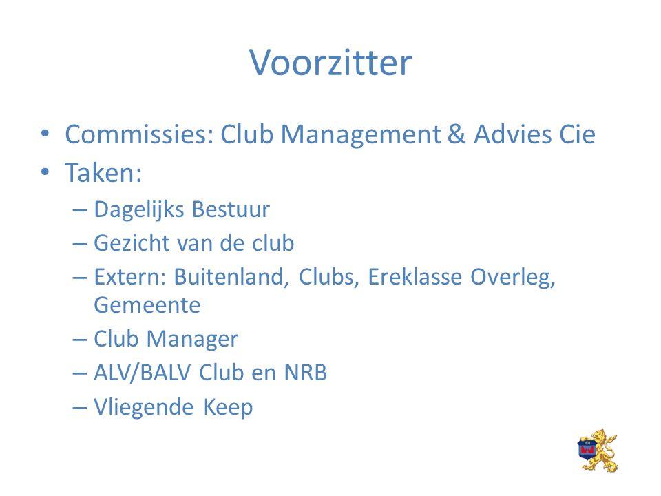 Voorzitter Commissies: Club Management & Advies Cie Taken: – Dagelijks Bestuur – Gezicht van de club – Extern: Buitenland, Clubs, Ereklasse Overleg, Gemeente – Club Manager – ALV/BALV Club en NRB – Vliegende Keep