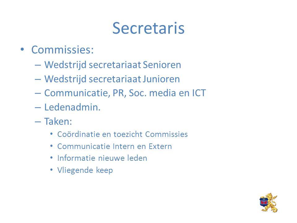Secretaris Commissies: – Wedstrijd secretariaat Senioren – Wedstrijd secretariaat Junioren – Communicatie, PR, Soc.