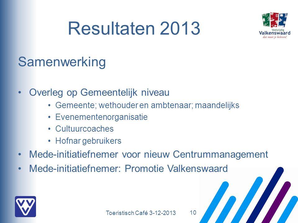 Toeristisch Café 3-12-2013 Resultaten 2013 Samenwerking Overleg op Gemeentelijk niveau Gemeente; wethouder en ambtenaar; maandelijks Evenementenorgani