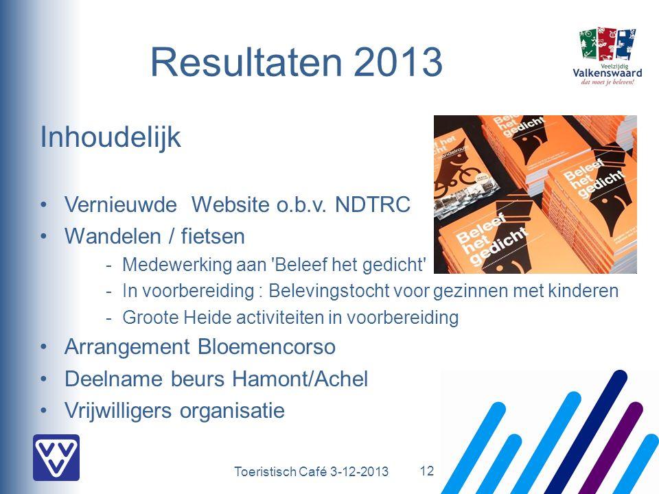 Toeristisch Café 3-12-2013 Resultaten 2013 Inhoudelijk Vernieuwde Website o.b.v. NDTRC Wandelen / fietsen - Medewerking aan 'Beleef het gedicht' -In v