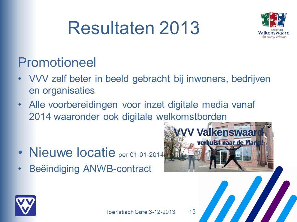 Toeristisch Café 3-12-2013 Promotioneel VVV zelf beter in beeld gebracht bij inwoners, bedrijven en organisaties Alle voorbereidingen voor inzet digitale media vanaf 2014 waaronder ook digitale welkomstborden Nieuwe locatie per 01-01-2014.