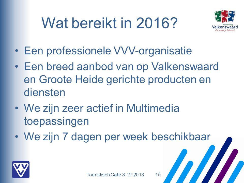 Toeristisch Café 3-12-2013 Wat bereikt in 2016? Een professionele VVV-organisatie Een breed aanbod van op Valkenswaard en Groote Heide gerichte produc