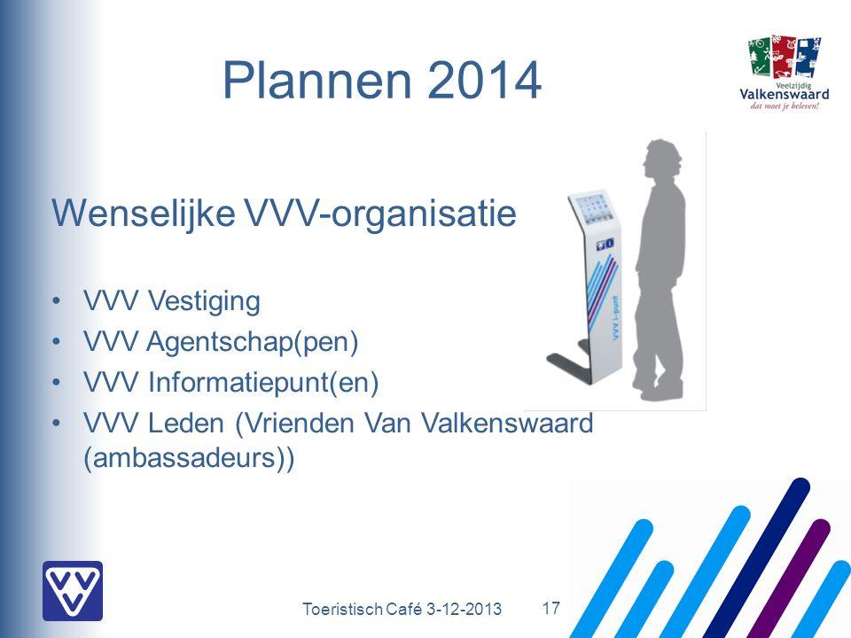 Toeristisch Café 3-12-2013 Plannen 2014 Wenselijke VVV-organisatie VVV Vestiging VVV Agentschap(pen) VVV Informatiepunt(en) VVV Leden (Vrienden Van Valkenswaard (ambassadeurs)) 17