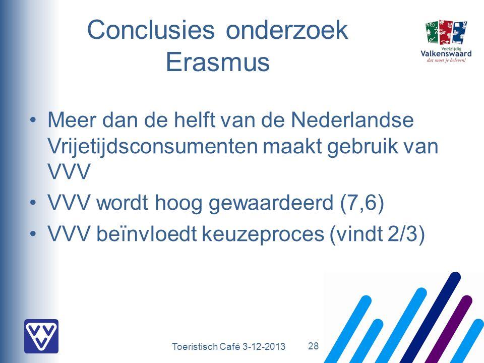 Toeristisch Café 3-12-2013 Conclusies onderzoek Erasmus Meer dan de helft van de Nederlandse Vrijetijdsconsumenten maakt gebruik van VVV VVV wordt hoog gewaardeerd (7,6) VVV beïnvloedt keuzeproces (vindt 2/3) 28