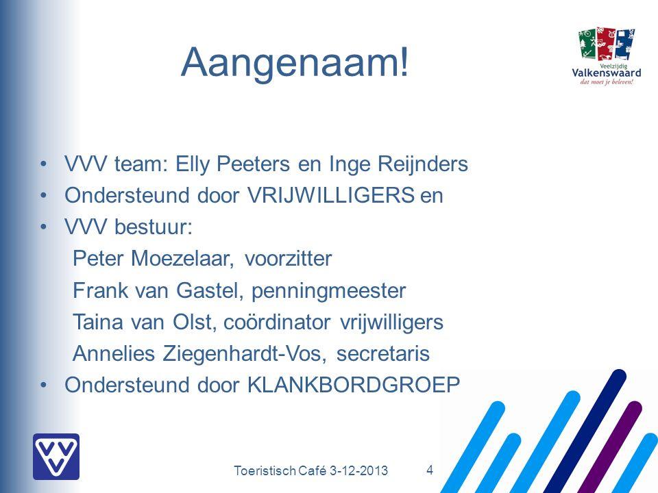Toeristisch Café 3-12-2013 Aangenaam! VVV team: Elly Peeters en Inge Reijnders Ondersteund door VRIJWILLIGERS en VVV bestuur: Peter Moezelaar, voorzit