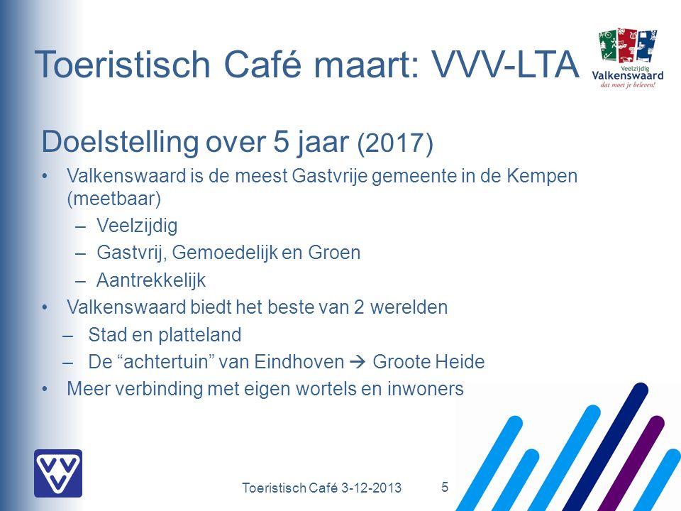 Toeristisch Café 3-12-2013 Toeristisch Café maart: VVV-LTA Doelstelling over 5 jaar (2017) Valkenswaard is de meest Gastvrije gemeente in de Kempen (meetbaar) –Veelzijdig –Gastvrij, Gemoedelijk en Groen –Aantrekkelijk Valkenswaard biedt het beste van 2 werelden –Stad en platteland –De achtertuin van Eindhoven  Groote Heide Meer verbinding met eigen wortels en inwoners 5