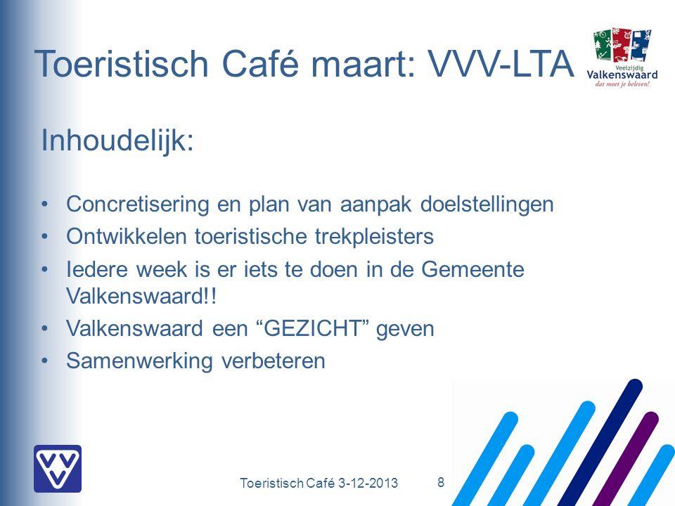 Toeristisch Café 3-12-2013 Toeristisch Café maart: VVV-LTA Inhoudelijk: Concretisering en plan van aanpak doelstellingen Ontwikkelen toeristische trekpleisters Iedere week is er iets te doen in de Gemeente Valkenswaard!.