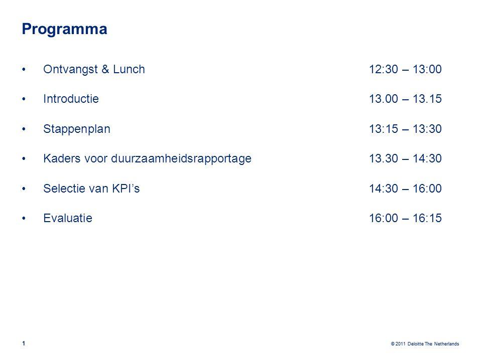 © 2011 Deloitte The Netherlands 1 Programma Ontvangst & Lunch12:30 – 13:00 Introductie13.00 – 13.15 Stappenplan 13:15 – 13:30 Kaders voor duurzaamheid