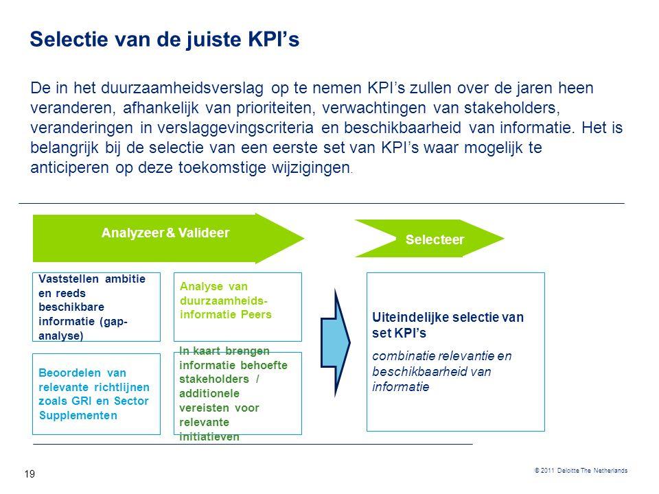 © 2011 Deloitte The Netherlands Selectie van de juiste KPI's 19 De in het duurzaamheidsverslag op te nemen KPI's zullen over de jaren heen veranderen,