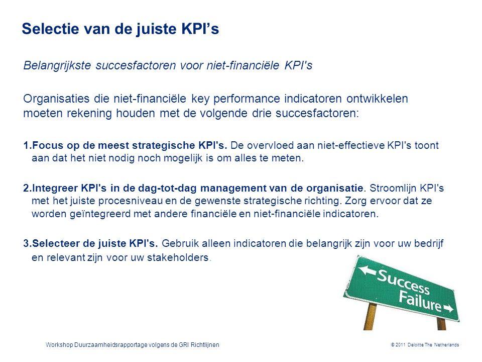 © 2011 Deloitte The Netherlands Workshop Duurzaamheidsrapportage volgens de GRI Richtlijnen Selectie van de juiste KPI's Belangrijkste succesfactoren