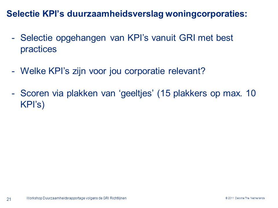 © 2011 Deloitte The Netherlands Workshop Duurzaamheidsrapportage volgens de GRI Richtlijnen 21 Selectie KPI's duurzaamheidsverslag woningcorporaties: