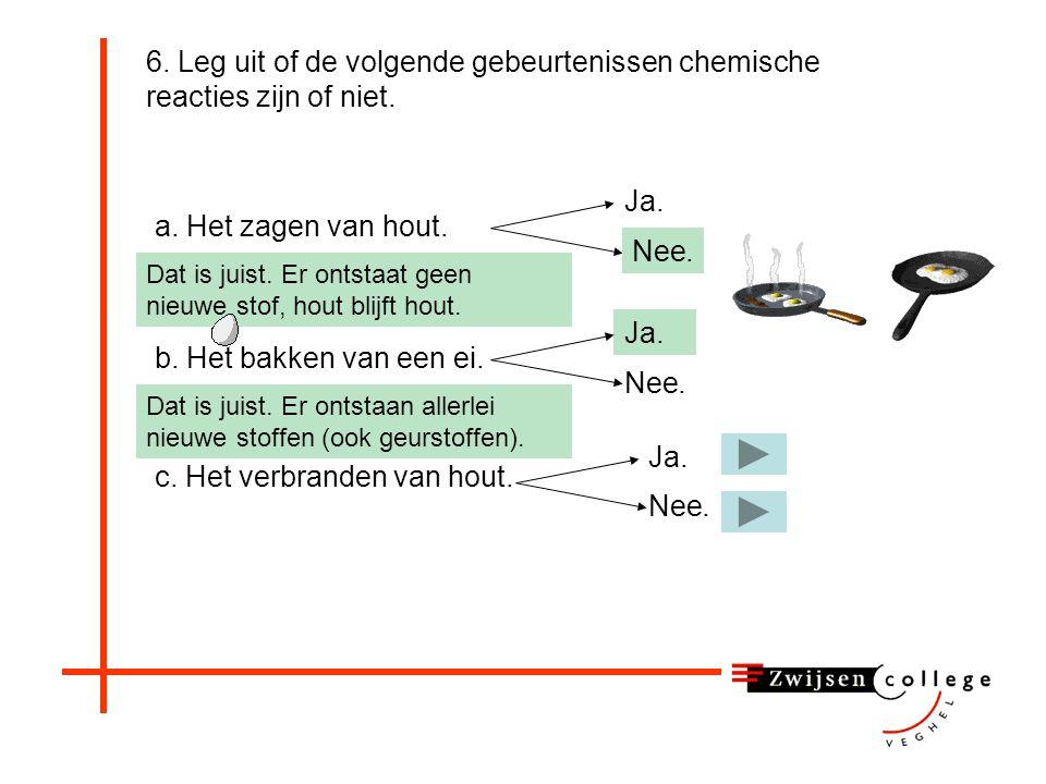 6. Leg uit of de volgende gebeurtenissen chemische reacties zijn of niet. a. Het zagen van hout. c. Het verbranden van hout. b. Het bakken van een ei.
