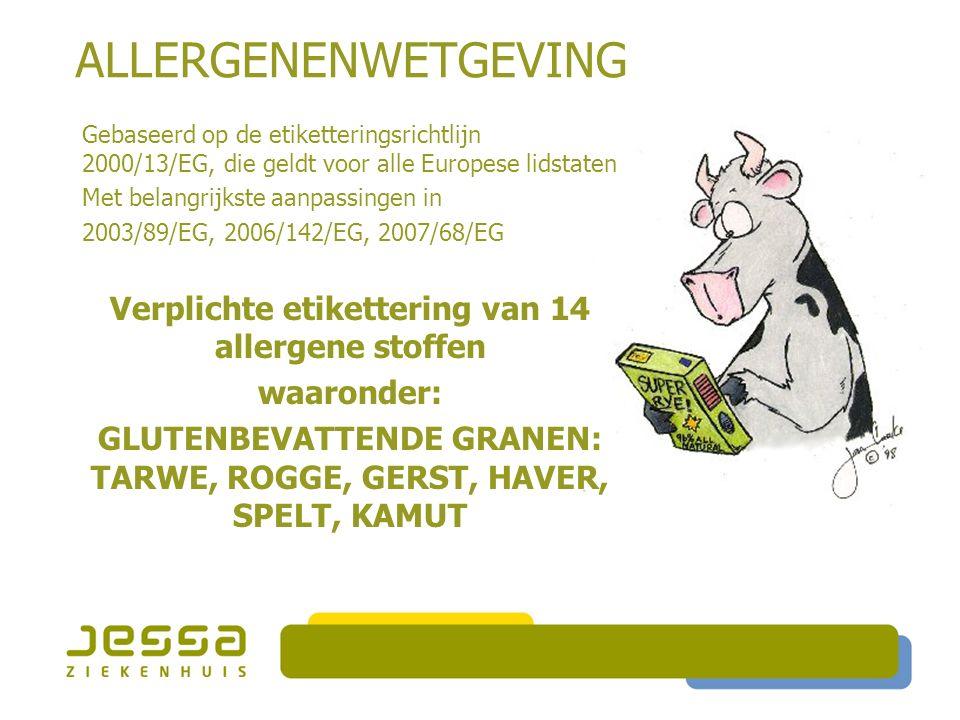 ALLERGENENWETGEVING Gebaseerd op de etiketteringsrichtlijn 2000/13/EG, die geldt voor alle Europese lidstaten Met belangrijkste aanpassingen in 2003/89/EG, 2006/142/EG, 2007/68/EG Verplichte etikettering van 14 allergene stoffen waaronder: GLUTENBEVATTENDE GRANEN: TARWE, ROGGE, GERST, HAVER, SPELT, KAMUT