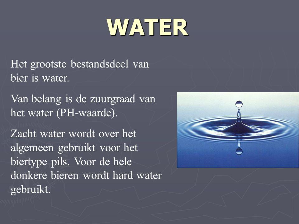 Het grootste bestandsdeel van bier is water. Van belang is de zuurgraad van het water (PH-waarde).