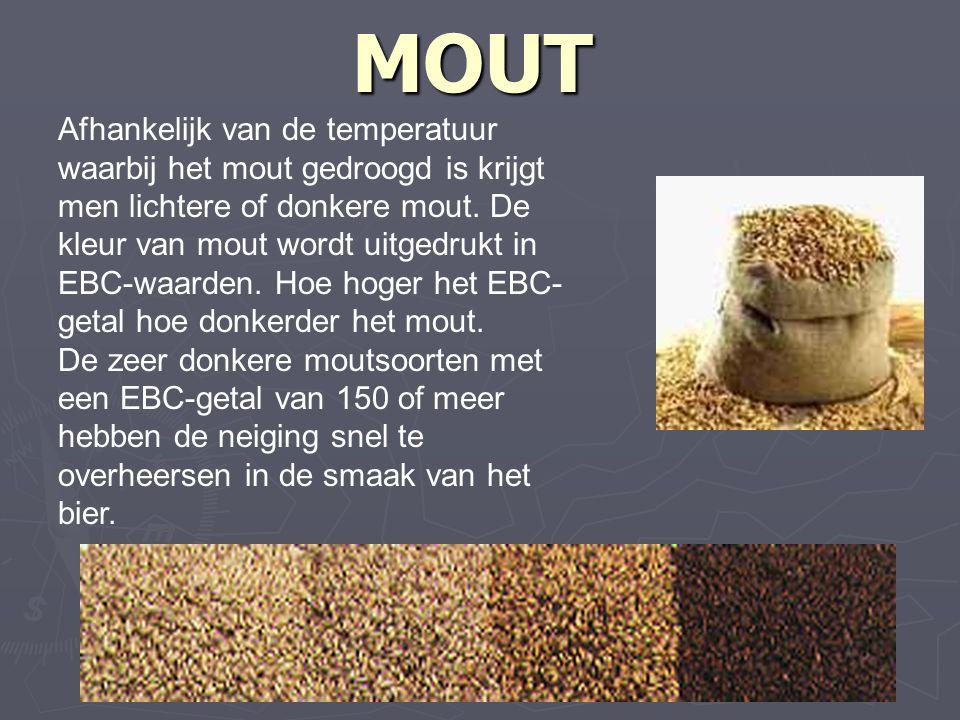 MOUT Afhankelijk van de temperatuur waarbij het mout gedroogd is krijgt men lichtere of donkere mout.