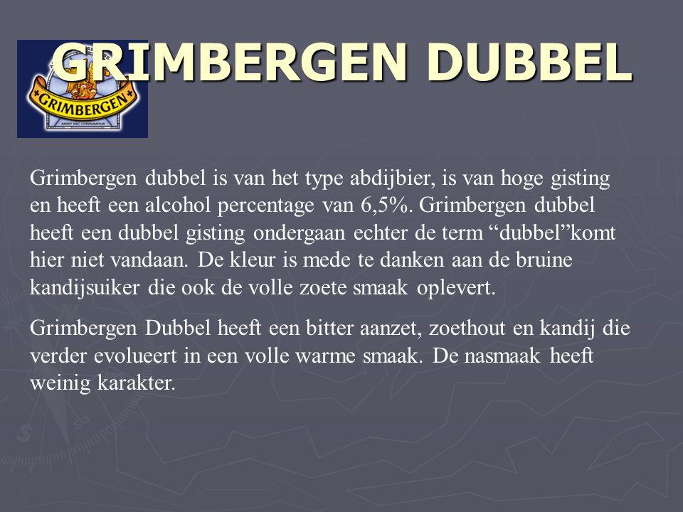 GRIMBERGEN DUBBEL Grimbergen dubbel is van het type abdijbier, is van hoge gisting en heeft een alcohol percentage van 6,5%.