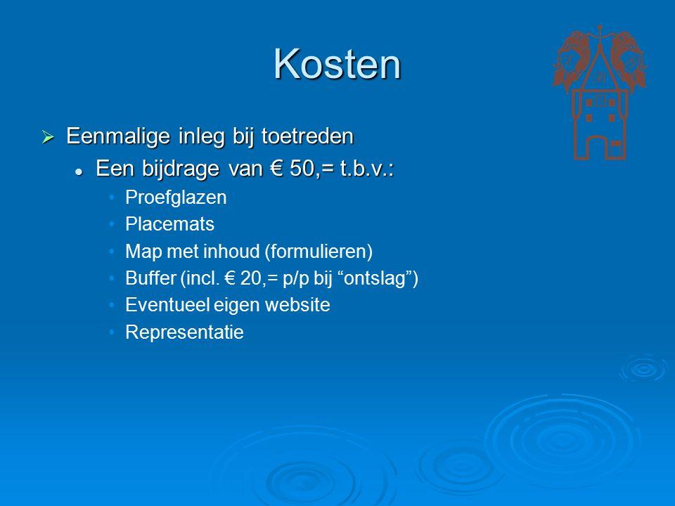 Kosten  Eenmalige inleg bij toetreden Een bijdrage van € 50,= t.b.v.: Een bijdrage van € 50,= t.b.v.: Proefglazen Placemats Map met inhoud (formulieren) Buffer (incl.
