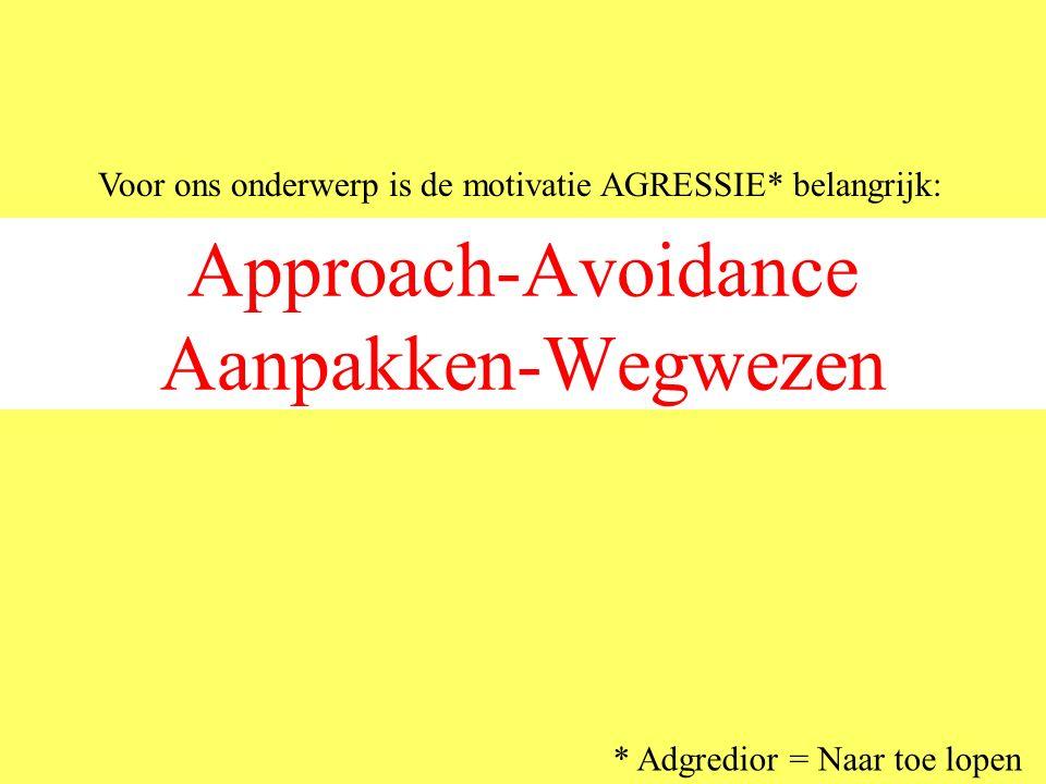 Approach-Avoidance Aanpakken-Wegwezen Voor ons onderwerp is de motivatie AGRESSIE* belangrijk: * Adgredior = Naar toe lopen