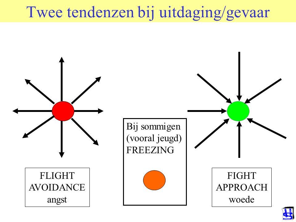 Twee tendenzen bij uitdaging/gevaar FLIGHT AVOIDANCE angst FIGHT APPROACH woede Bij sommigen (vooral jeugd) FREEZING