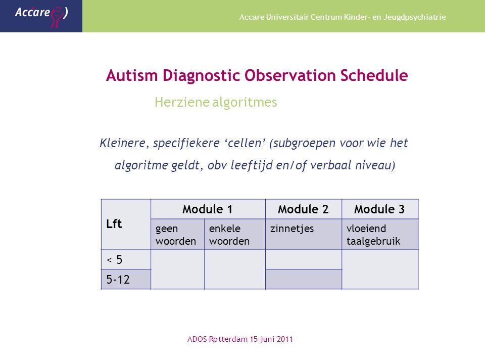 Accare Universitair Centrum Kinder- en Jeugdpsychiatrie Autism Diagnostic Observation Schedule Herziene algoritmes Kleinere, specifiekere 'cellen' (su