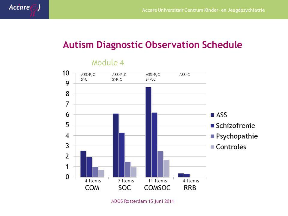 Accare Universitair Centrum Kinder- en Jeugdpsychiatrie Autism Diagnostic Observation Schedule Module 4 ADOS Rotterdam 15 juni 2011 ASS>P,C ASS>P,C ASS>P,C ASS>C S>C S>P,C S>P,C 4 items 7 items 11 items 4 items