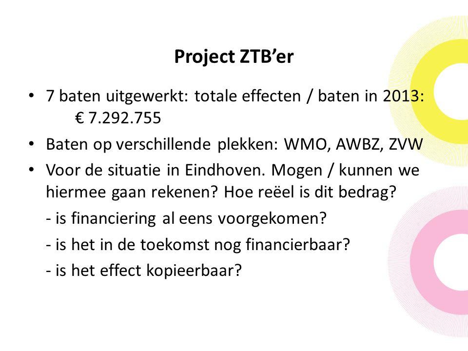 Project ZTB'er 7 baten uitgewerkt: totale effecten / baten in 2013: € 7.292.755 Baten op verschillende plekken: WMO, AWBZ, ZVW Voor de situatie in Eindhoven.