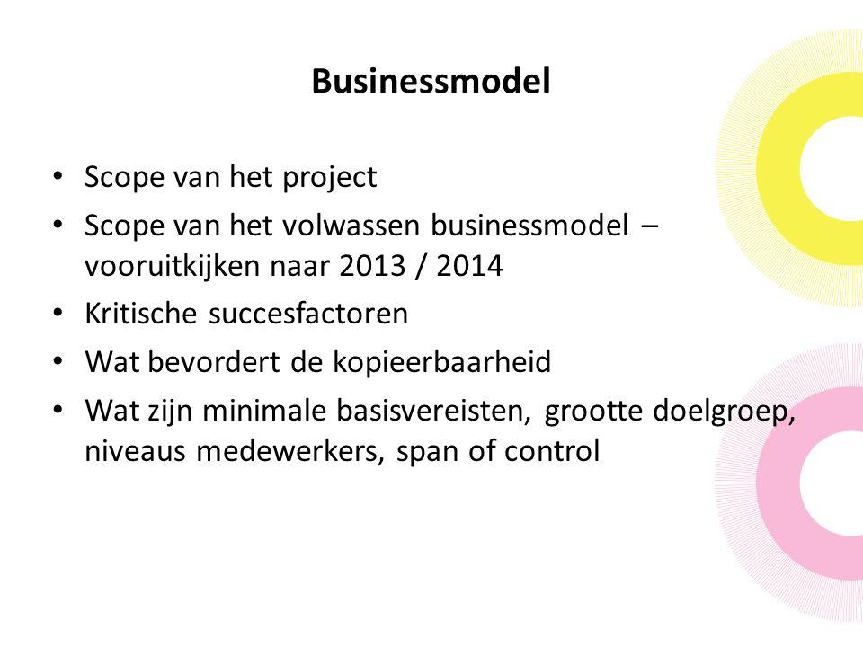 Businessmodel Scope van het project Scope van het volwassen businessmodel – vooruitkijken naar 2013 / 2014 Kritische succesfactoren Wat bevordert de kopieerbaarheid Wat zijn minimale basisvereisten, grootte doelgroep, niveaus medewerkers, span of control