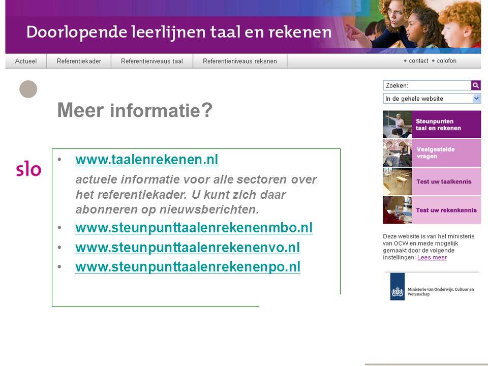 Referentiekader www.taalenrekenen.nl actuele informatie voor alle sectoren over het referentiekader.