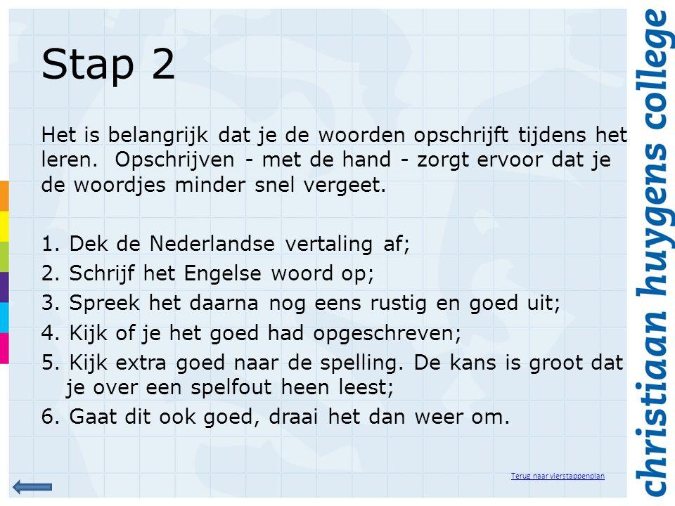 Stap 2 Het is belangrijk dat je de woorden opschrijft tijdens het leren. Opschrijven - met de hand - zorgt ervoor dat je de woordjes minder snel verge