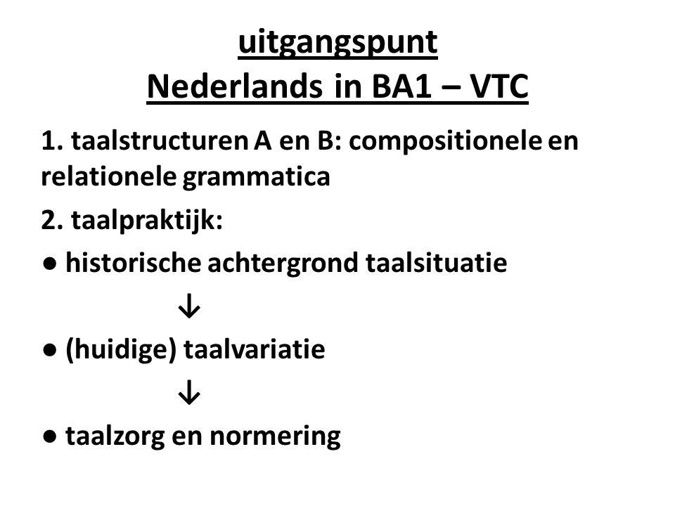 uitgangspunt Nederlands in BA1 – VTC 1. taalstructuren A en B: compositionele en relationele grammatica 2. taalpraktijk: ● historische achtergrond taa