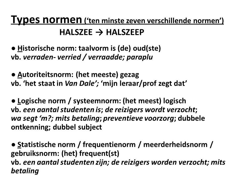 Types normen ('ten minste zeven verschillende normen') HALSZEE → HALSZEEP ● Historische norm: taalvorm is (de) oud(ste) vb. verraden- verried / verraa