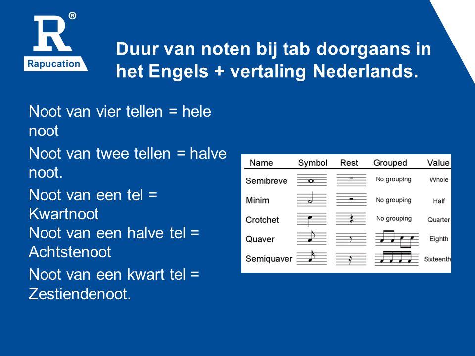 Duur van noten bij tab doorgaans in het Engels + vertaling Nederlands. Noot van vier tellen = hele noot Noot van twee tellen = halve noot. Noot van ee