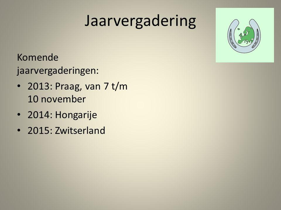 Jaarvergadering Komende jaarvergaderingen: 2013: Praag, van 7 t/m 10 november 2014: Hongarije 2015: Zwitserland