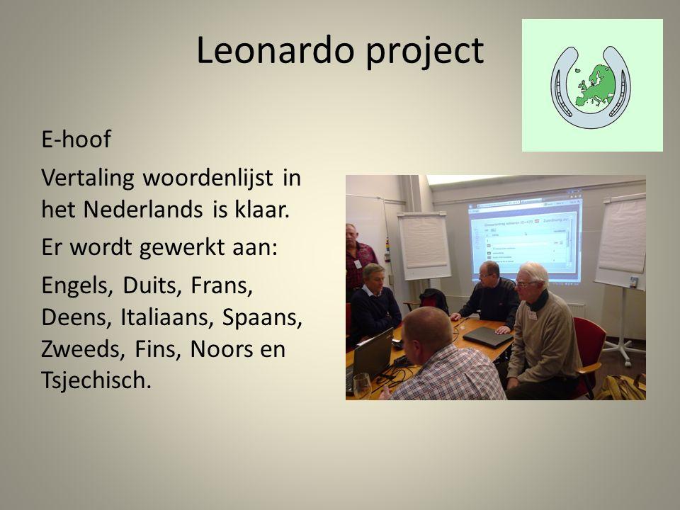 Leonardo project E-hoof Vertaling woordenlijst in het Nederlands is klaar.