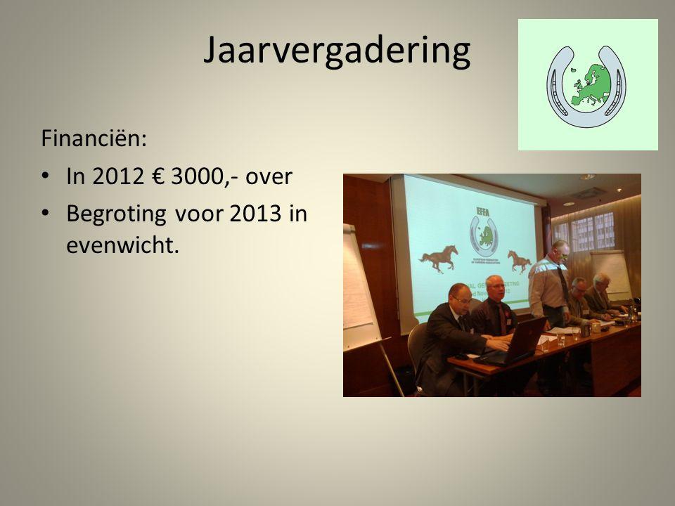 Jaarvergadering Financiën: In 2012 € 3000,- over Begroting voor 2013 in evenwicht.