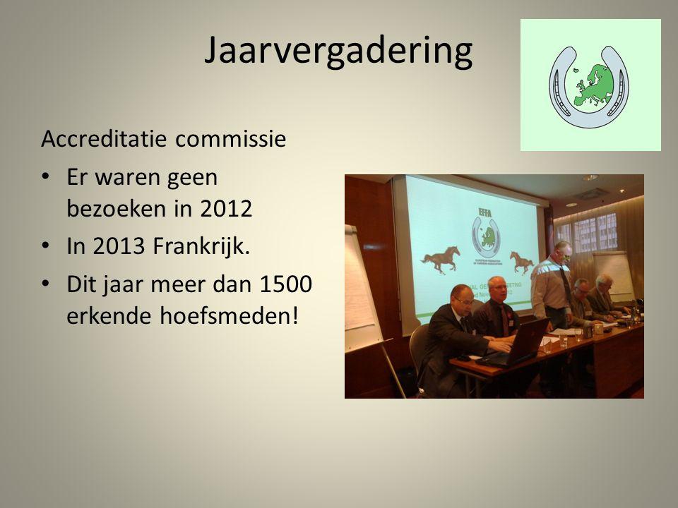 Jaarvergadering Accreditatie commissie Er waren geen bezoeken in 2012 In 2013 Frankrijk.