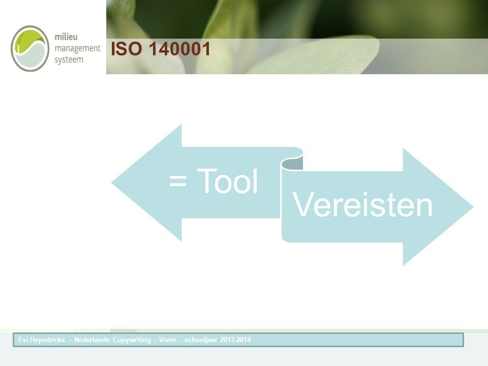 Herneming van de titel van de presentatieAuteur van de presentatie ISO 140001 = Tool Vereisten Evi Heyndrickx – Nederlands Copywriting – Vives - schoo