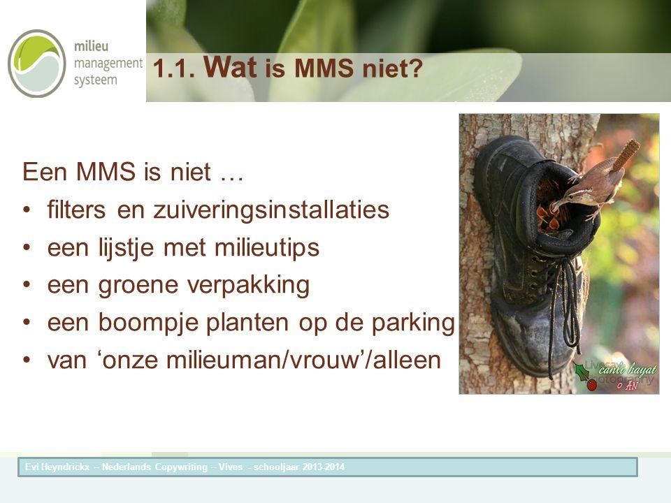 Herneming van de titel van de presentatieAuteur van de presentatie 1.1. Wat is MMS niet? Een MMS is niet … filters en zuiveringsinstallaties een lijst