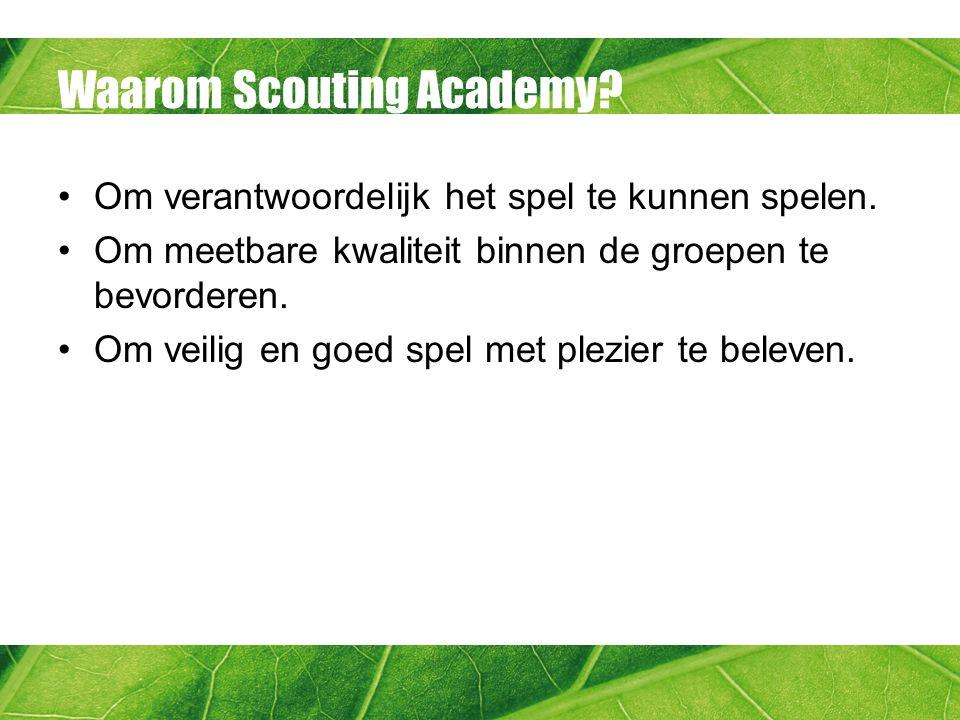 Ontwikkeling gaat door Verder ontwikkelen: Kwalificatie Op kamp Op kamp-Logeren en bivak Op kamp- Kamperen en expeditie Vervolgtrainingen of -modules –Scoutingtechnieken –EHBO –Etc.