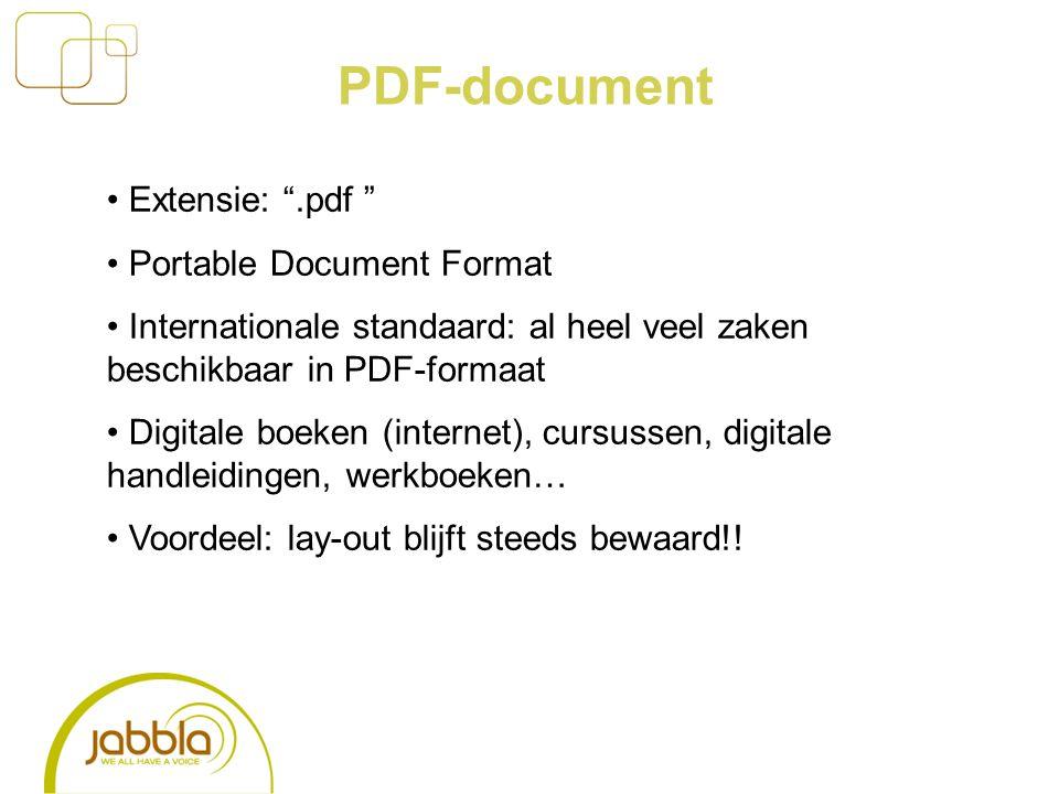 PDF-document Extensie: .pdf Portable Document Format Internationale standaard: al heel veel zaken beschikbaar in PDF-formaat Digitale boeken (internet), cursussen, digitale handleidingen, werkboeken… Voordeel: lay-out blijft steeds bewaard!!