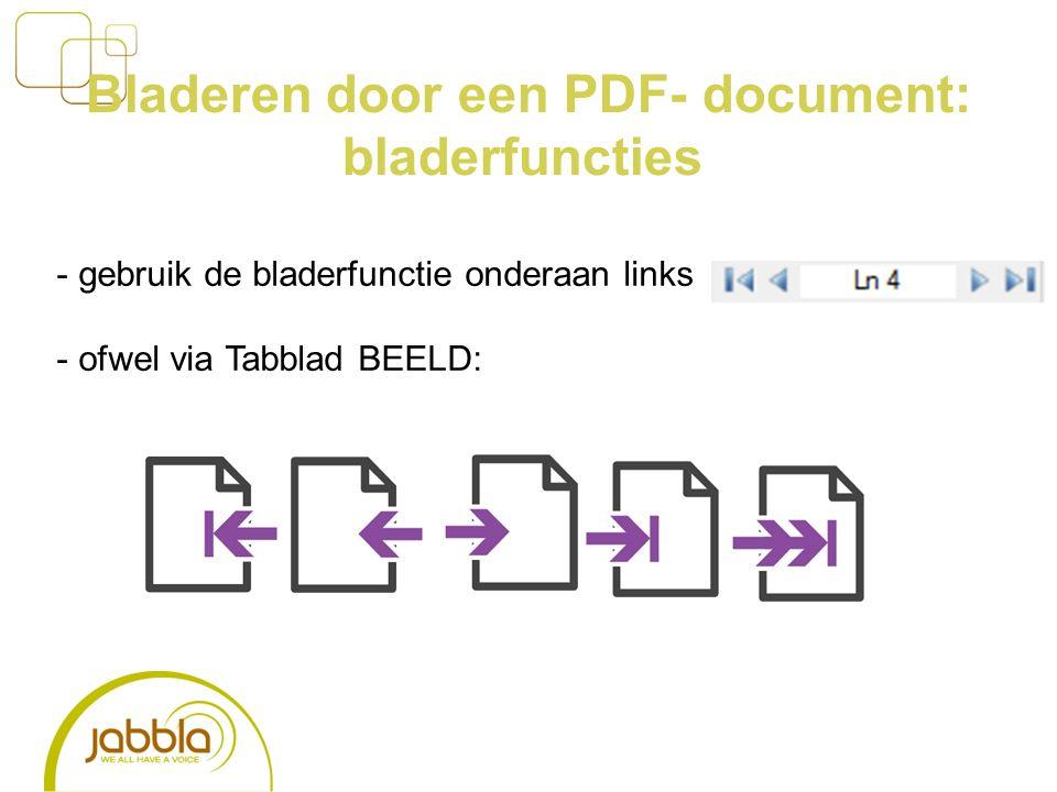 Bladeren door een PDF- document: bladerfuncties - gebruik de bladerfunctie onderaan links - ofwel via Tabblad BEELD: