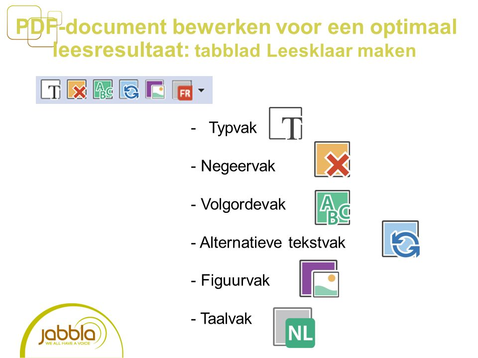 PDF-document bewerken voor een optimaal leesresultaat: tabblad Leesklaar maken -Typvak - Negeervak - Volgordevak - Alternatieve tekstvak - Figuurvak - Taalvak
