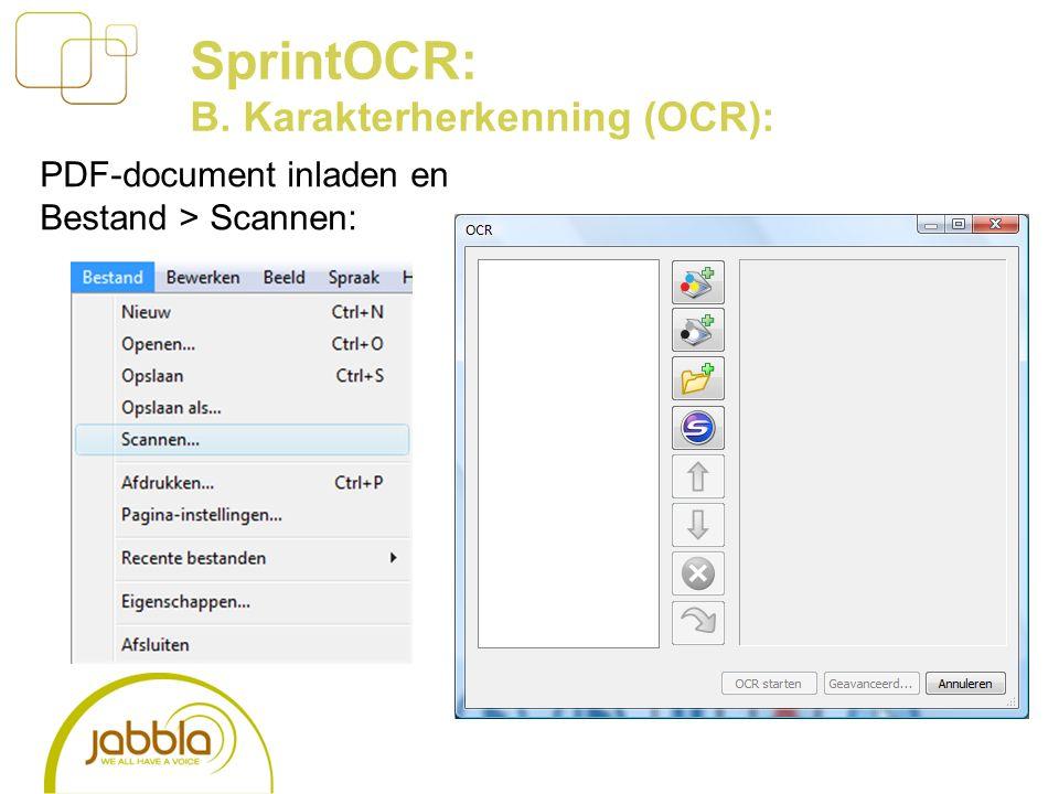 PDF-document inladen en Bestand > Scannen: SprintOCR: B. Karakterherkenning (OCR):