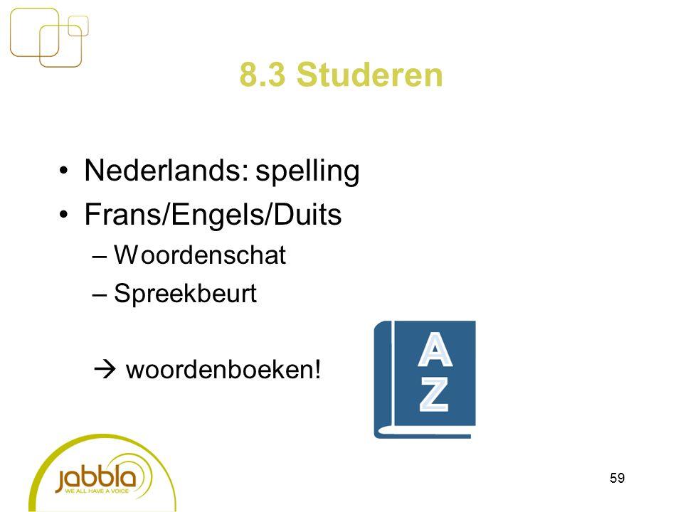 8.3 Studeren Nederlands: spelling Frans/Engels/Duits –Woordenschat –Spreekbeurt  woordenboeken! 59